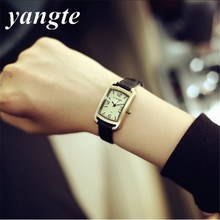 YANGTE Fashion Classic Vintage Magic Small Dial Brass Alloy Thin Leather Strap Quartz Wristwatch Watch Women Ladies Girls A1442