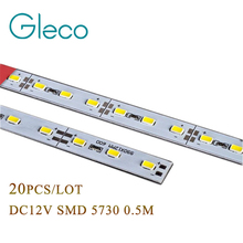20pcs Super Bright Hard Rigid Bar light SMD 5730 DC12V 50cm 36 led Aluminum Alloy Led Strip LED Bar Light 5730 5630 For Cabinet