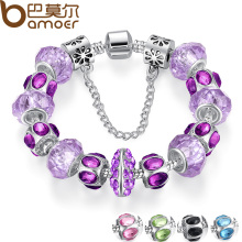5 Colors Silver Purple Crystal Bead Charm Bracelet with Safety Chain for Women Russia & Brazil Jewelry PA1448