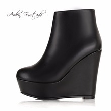 Arden Furtado 2017 autumn winter genuine leather platform high heels girl wedges ankle boots shoes for woman fashion boots women