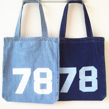 High-capacity Handbags Women Casual Tote Shoulder Messenger Hand Bag Blue Canvas Open Washed Denim Environmental Shopping Bags(China)
