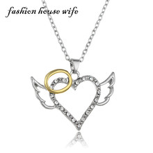Fashion House Wife New Rhinestone Heart Angle Wings Pendant Necklace Women Circle Silver Chain Necklace Collar Jewelry LN0061