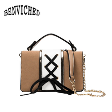 BENVICHED 2017 personality strap hit color hand ladies small square bag wild shoulder Messenger bag tide R459(China)