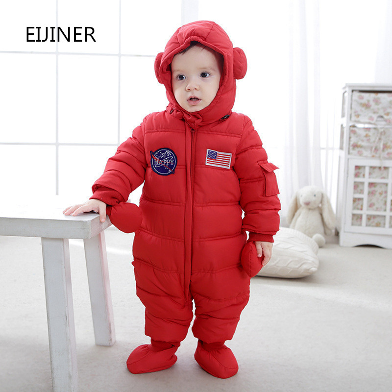 Baby Rompers Winter 2017 Thicken Warm Baby Girls Boys Clothes Hooded Baby Boys Rompers Infants Jumpsuits <br>