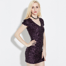 QIYUN.Z Brand 2017 Women V-neck pack hip Sequins Dress Fashion evening Party dress Woman Vintage beautiful Spring Sequins Dress