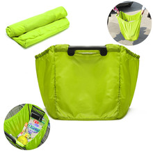 Portable Lime Grab Bags Clip-To-Cart Supermarket Reusable Grocery Shopping Travel Bag 58 X30 X40cm convenience Durable handles