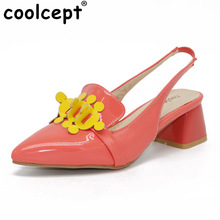Coolcept Summer Fashion Women Flower High Heels Sandals Slip On Mixed Color Pointed Toe Shoes Women Size 32-48(China)
