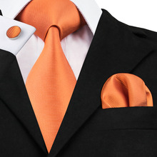 SN-266 Popular Orange Solid Neck Tie Set Tie Hanky Cufflinks for Men 100% Silk Beautiful Ties for Casual Party(China)