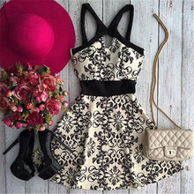 Buy Exotic Style Vintage Floral Print Lace Dress New Fashion Summer Sexy Women Sleeveless Halter Dress Casual Chiffon Mini Dress