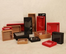 50pieces Red/Black/Red fold gift box with pvc window,Blank Gift boxes Paper Jewelry Boxes display case Wholesale