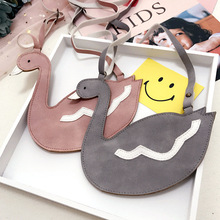 Korea Cute Lovely Imitation Leather Swan Necklace Pendent Bag Chain Collar Fashion Jewelry Children Girl Accessories-SWCGNLB014C