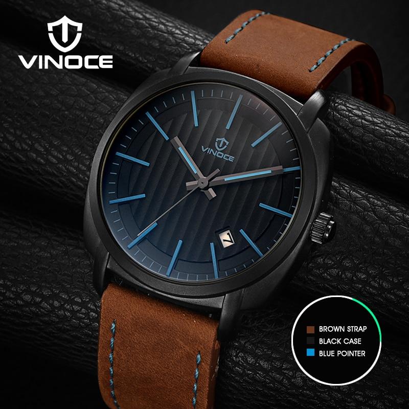 VINOCE Leather Strap Watch Men Sheepskin Calendar Top Brand Waterproof Fashion Relogio Masculino MenS Watches #V3286G<br>