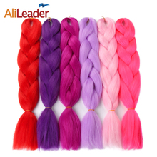 AliLeader One Two Three Tone Ombre Jumbo Braid Kanekalon Braiding Hair Pink Red Blue Green Purple Grey Synthetic Hair For Braid(China)