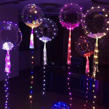 2017 Night light advertising balloons 18 inch LED lights 3 M transparent balloons wedding holiday Christmas children's gifts(China)