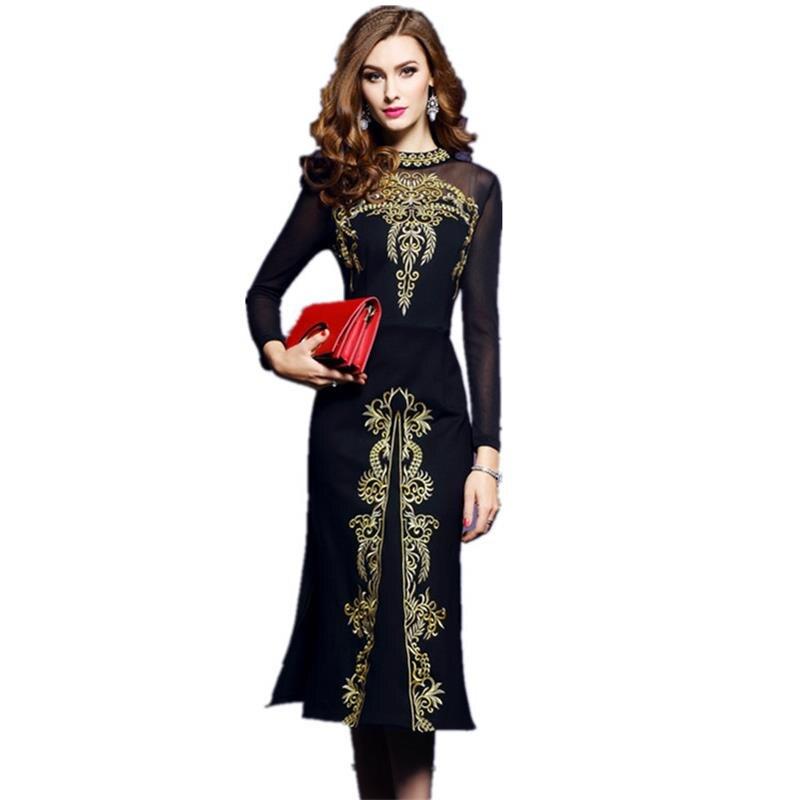 Women Spring and Autumn Vintage Embroidery Dress Female Elegant Black Retro Robe Femme Knitted Clothing Mesh Sexy fashion dressÎäåæäà è àêñåññóàðû<br><br>