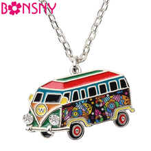 Bonsny Statement Enamel Alloy Bus Car Shape Necklace Pendants Collar Chain Choker New Fashion Jewelry For Women Girl Accessories(China)