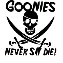 21.2CM*22.9CM Goonies Never Say Die Decal Sticker Personality Fashion Car Stickers Decoration Black Sliver C8-1179