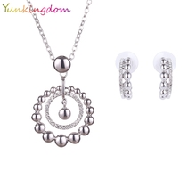 Yunkingdom Round Style Crystal Earrings White Gold Color Necklaces& Earrings Perfect Design Jewelry Sets For Women Wholesale