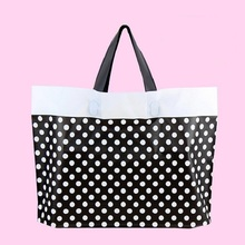 50pcs Black dot Plastic Shopping Gift Boutique Clothes bags with Handles Reusable bag 16C Thicken Cosmetic bags 40x30x8cm Retail(China)