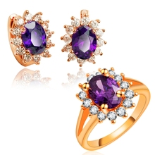 Yunkingdom Trendy Jewelry Sets new rose Gold Color Fashion zircon Earrings Rings Set Jewelry Accessories wholesale LPG18