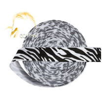 "GOYIBA 5 Yard 5/8"" Black White Zebra Stripe Animal Print FOE Foldover Elastic Satin Band Headband Hair Tie Dress DIY Sewing Trim"