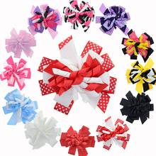 "Big Retro Korker Ribbon Bows 4-4.5"" Curly Hair Bows Hair Clips Kids Hair Barrettes Vintage Hair Accessories Pack of 12(China)"