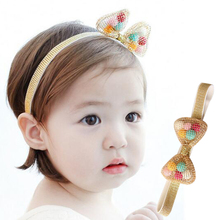 New Magazine Thread Hairband Children Colorful Woollen Ball Bow Headband Fashion Hair Bands For Kids Girls Accessories C1