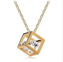 Promotion 2014 Fashion Top Quality Rose Magic Cube 0.75MM Zircon Pendant Charm Necklace For Lady XY-N279