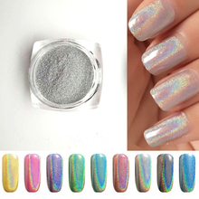 2g/Bottle Silver Laser Holographic Nail Powder Glitter Nail Art Rainbow Chrome Pigments DIY Manicure Charms Nail Art Decorations
