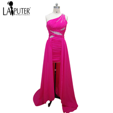 2017 Custom Made One Shoulder Hot Pink Chiffon Long Elegant Cheap Evening Prom Dresses Discount Women Party Gown Laiputer(China)