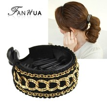 FANHUA   Retro Style Fashion Plaits Hair Accessories Black Resin Round Ribbon Hair Claws Headwear Accessories Women