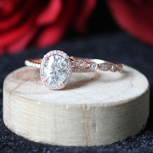 Solid 14K Rose Gold Moissanite Ring Set Oval Cut 8X6mm 1.5CT Moissanite Engagement Ring& Match Band For Women(China)