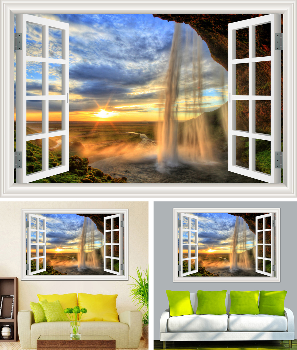 HTB1J.2Eb7fb uJkSnhJq6zdDVXaZ - Waterfall 3D Window View Wallpaper Nature Landscape Wall Decals for Living Room