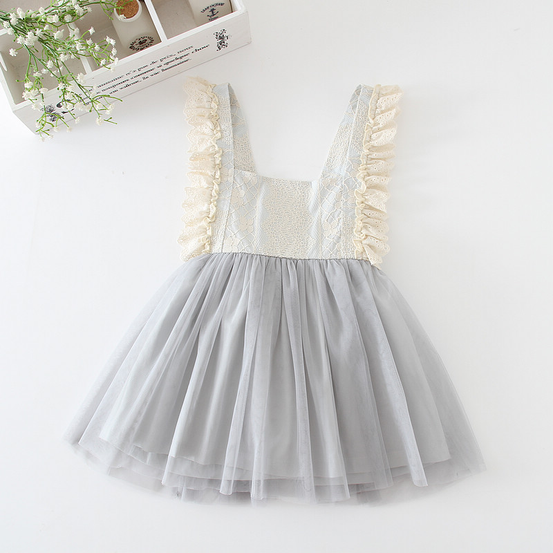 Girls Dresses Lace Tulle Kids Ball Gown Cute Grey Dresses For Girls Fashion Princess Party Kids Clothing Children Summer Outfits<br>