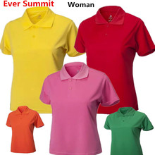Ever Summit Woman Sports POLO 100% Cotton High Quality Lady Summer Plus Female Soccer Shirts Custom Design Logo Taining Polo(China)