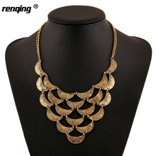 2016 Trendy Necklaces Gold Silver Plated Personality Moon Splice Choker Collares Bib Necklace Summer Bohemian Vintage Necklace(China)