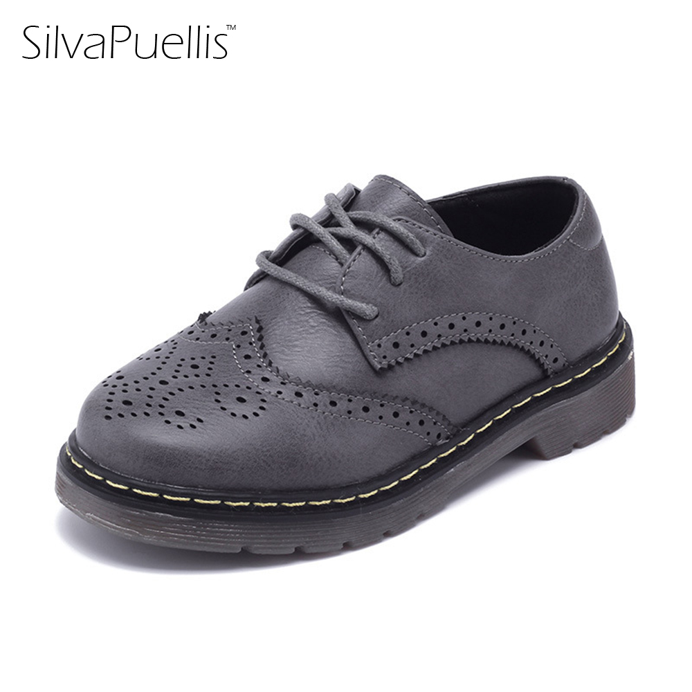 SilvaPuellis 2017 Childrens Simple Fashion Brogue PU Leather Oxfords Shoes Boy And Girl Black Lace-Up Flat Dress Shoes <br>