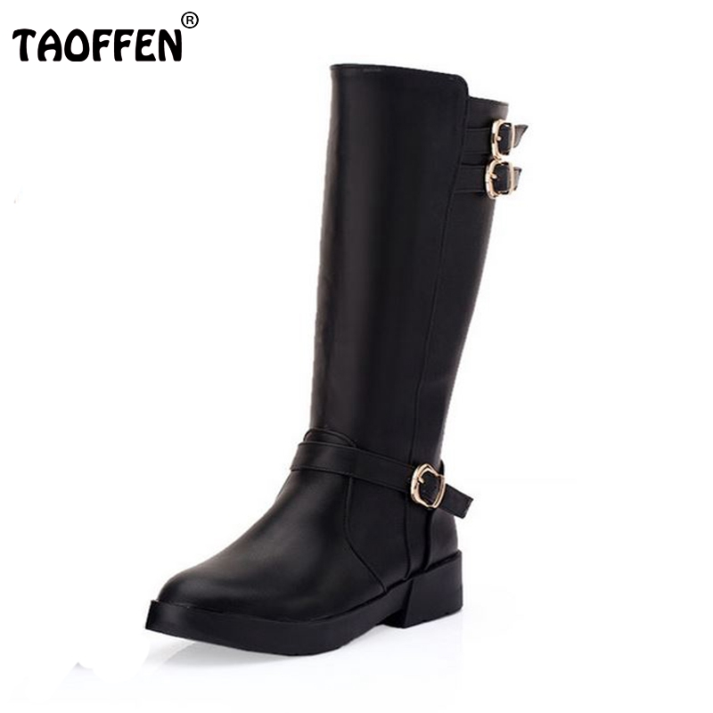 Women Half Short Boots Flat Winter Snow Warm Mid Calf Boot Botas Buckle Riding Leisure Quality Footwear Shoes Size 34-39 <br>
