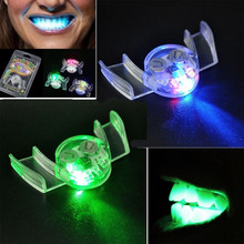 2017 Flashing LED Light Up Mouth Braces Piece Glow Teeth For Halloween Party Rave(China)