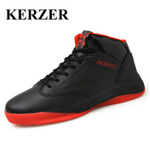 KERZER New Mens Basketball Sneakers Sale Breathable Leather Training Shoes Mid Top Basketball Shoes Red Blue Athletic Sneakers