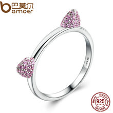 BAMOER Authentic Real 100% 925 Sterling Silver Cute Cat Ears Pussy Ears,Pink CZ Ring for Women Wedding Jewelry SCR036(China)