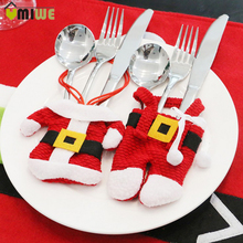 2 Pcs Christmas Santa Claus Suit Dinner Table Decoration Flatware Set Kitchen Dinnerware Tableware Holders Decor Bags Red Covers
