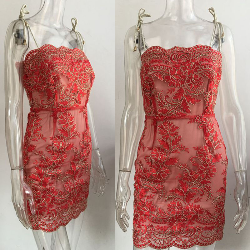 Strap Embroidery Lace Sexy Women Mini Dress 2017 New Autumn Elegant Sheath (11)