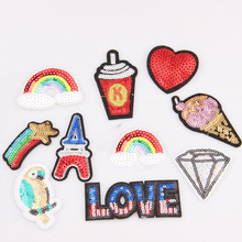 1pc Many Designs Choice Embroidered Iron On Patches Clothes Sequins Patch POP DIY Hotfix Motif Applique Miky Rainbow Star Duck(China)