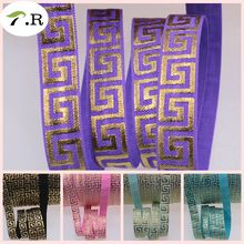 5 Colors factory direct gold foil maze fold over elastic 50yards 5/8 inch welcome customized order