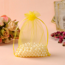 17x23cm Yellow Drawable Organza Jewelry Bags Embalagem Para Presente Decoration Household /Weeding Gift Bags 100pcs/lot