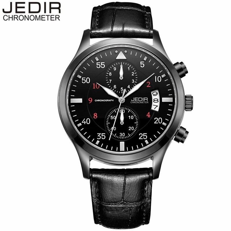 relogio masculino Mens Watches Top Brand Luxury JEDIR Black Leather Strap Quartz Watch Men Fashion Casual Chronograph Wristwatch<br><br>Aliexpress