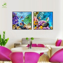 Colorful Marine Life Prints Animal World Canvas Painting Melamine Sponge Board Frame Oil Art Picture Ocean Biological Wall Paint
