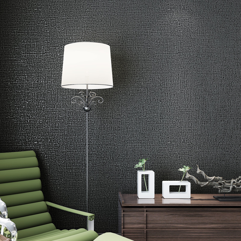 Vinyl Glitter Texture Solid Black Color Wallpaper Rolls for Study Room Black Wall paper Roll Wallcoverings<br>