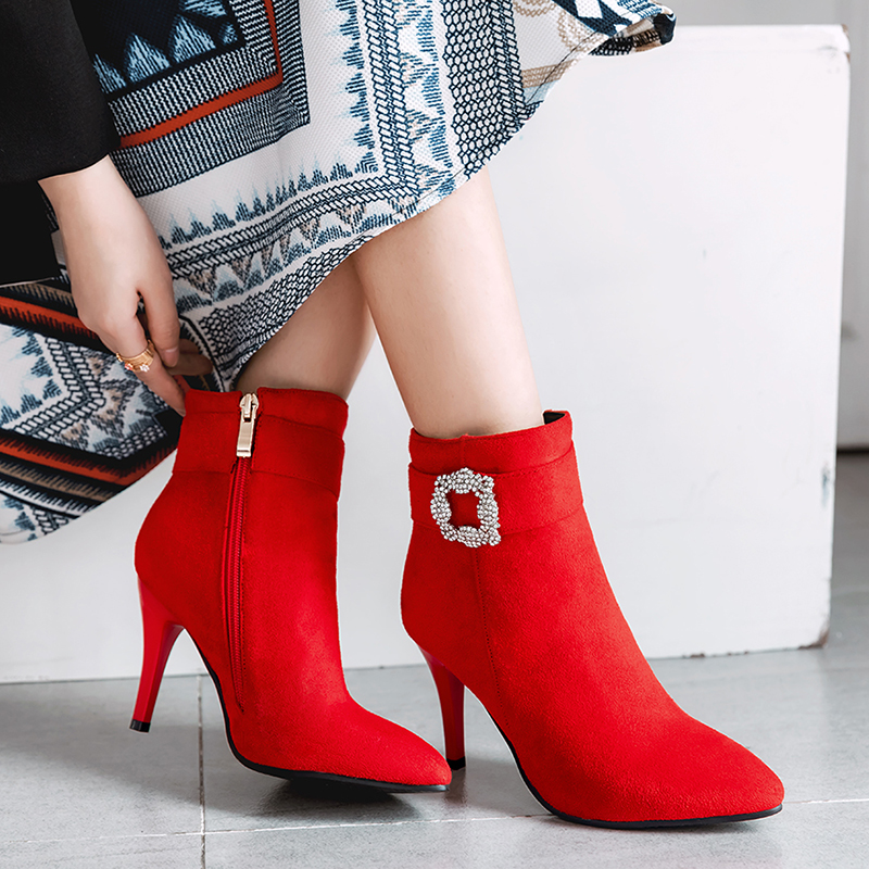 Women Ankle Boots High Heels 2018 Fashion Shoes Woman Platform Flock Buckle Winter Boots Ladies Shoes Female Botas Femininas